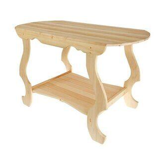 стол с фигурными ножнами и полкой